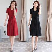 假两件优雅连衣裙 中长款 女装 高贵裙子中年妈妈装 端庄大气夏季大码