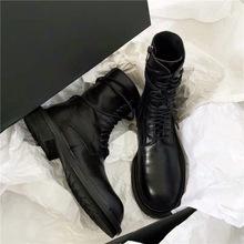 ANN黑色长筒马丁靴女平底靴子真皮英伦系带中筒骑士靴百搭机车靴
