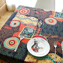 地中海棉麻桌布东南亚民族风餐桌布茶几布台盖布艺长正方形电视柜