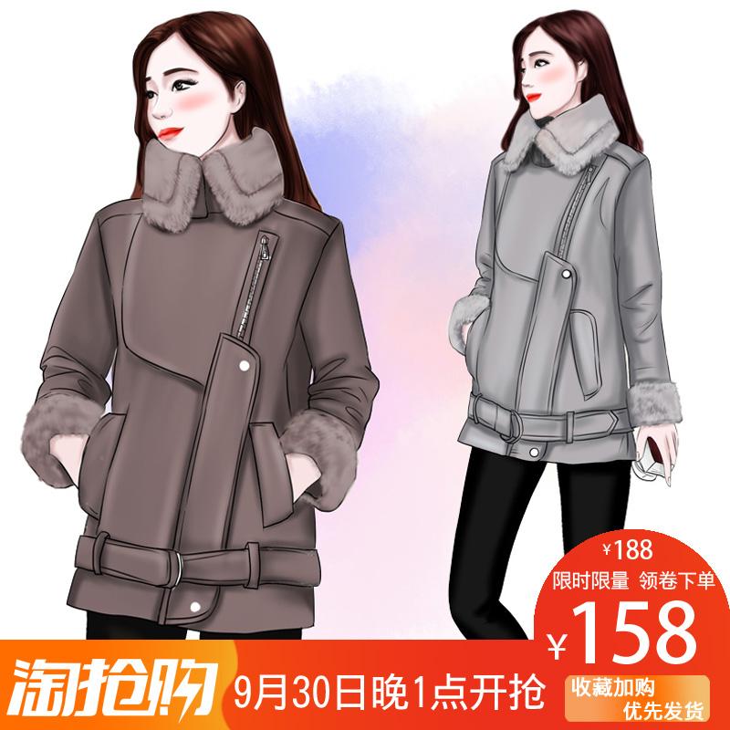 韩版皮棉衣女短款