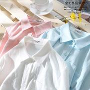 白色衬衫女夏2018新款棉麻宽松衬衣短袖港风ins超火的bf防晒上衣