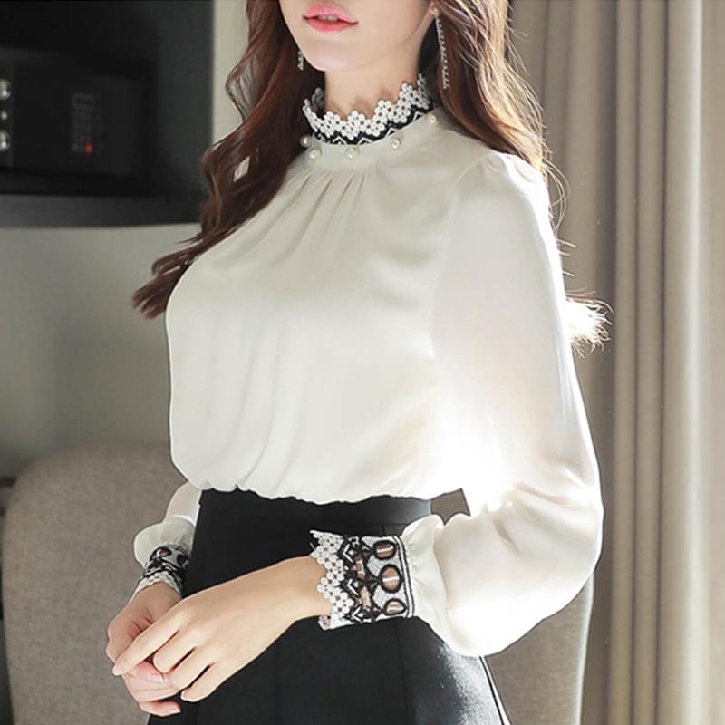 长袖花边蕾丝雪纺衫
