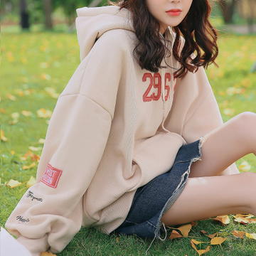 MOTE连帽卫衣女装加厚加绒冬季2017新款韩版外套宽松学生保暖上衣