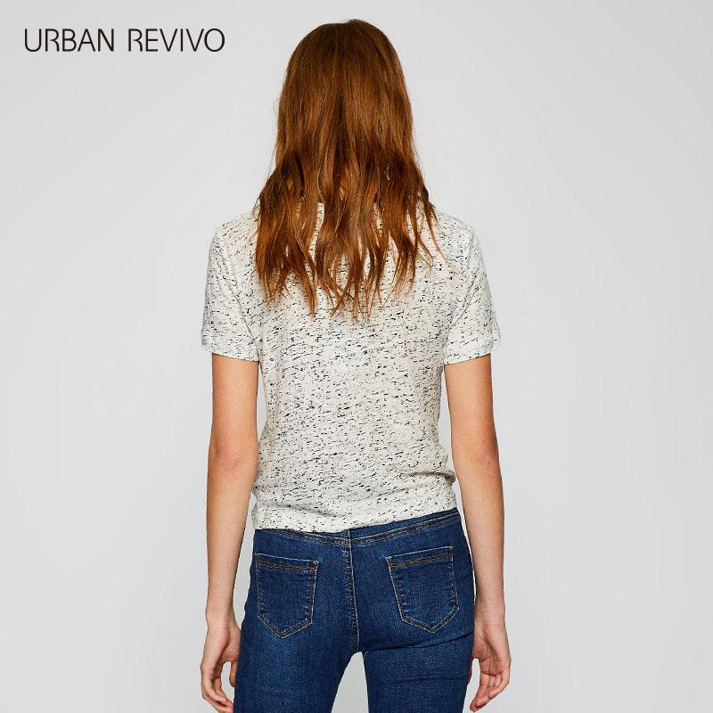 WH11S4EN2001 恤 T 夏季新品女装合身褶皱收腰撞色印花亚麻 UR2018