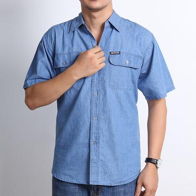 夏季男士牛仔外套工作服  大码纯棉衬衣薄短袖宽松版男衬衫