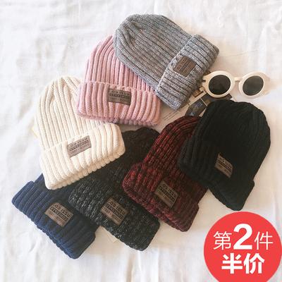 韩国毛线帽子女秋冬天贴标混色针织帽套头帽男时尚百搭情侣保暖潮
