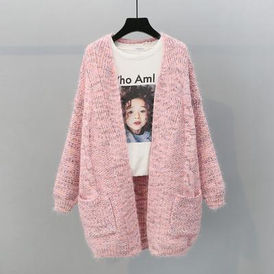 2018秋季新品中长款毛衣外套女韩版女装宽松麻花小清新学生口袋潮