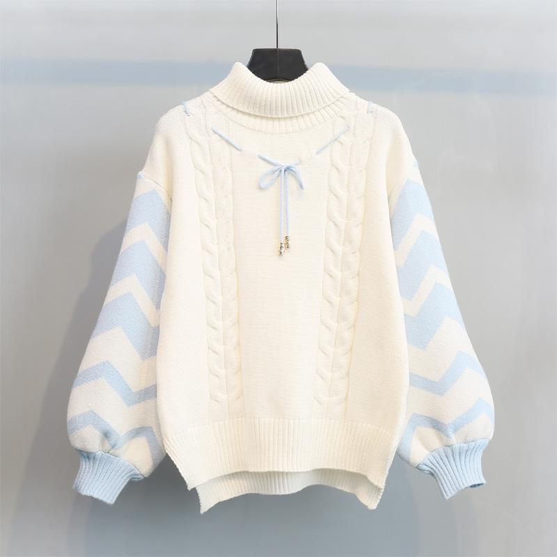 打底学生上衣 灯笼袖 系带韩版 小清新高领加厚套头毛衣女2017冬新款