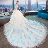 2018新款婚纱礼服新娘公主梦幻孕妇大码显瘦森系女一字肩森系拖尾