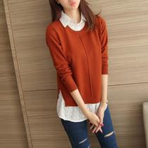 韩版秋装衬衣领针织衫女毛衣打底衫新款套头假两件宽松女装上衣