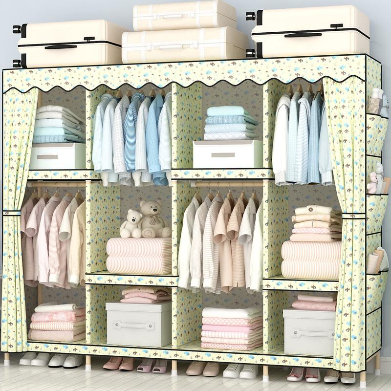 简易布衣柜子实木钢架布艺组装加厚挂衣架租房家用卧室木质可拆卸