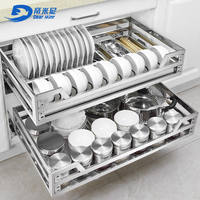 Dimini basket kitchen cabinet 304 stainless steel double buffer drawer kitchen cabinet seasoning dish bowl basket