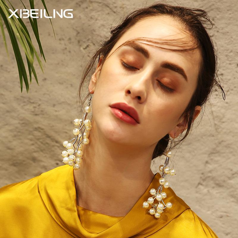 韩国时尚长款仿珍珠耳环耳钩女韩版潮人百搭气质耳坠欧美个性耳饰