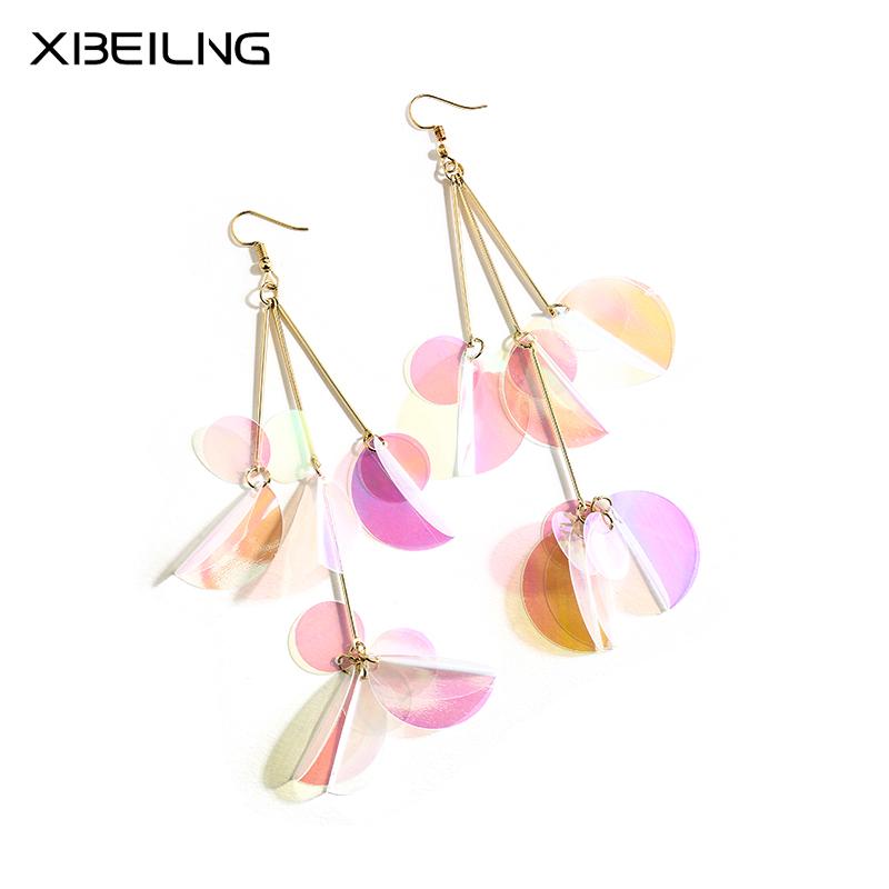 欧美夸张长款耳环女 韩国气质个性大气长棒亮片吊坠时尚装饰饰品