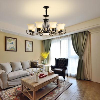 美式吊灯客厅灯现代简约大气卧室灯乡村铁艺复古北欧家用餐厅灯具
