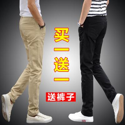 男士休闲裤修身直筒青年黑色长裤子夏季薄款宽松潮流韩版百搭男裤