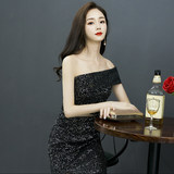 Black temperament small evening dress dress women 2019 summer new banquet noble fashion sexy one-word shoulder high-end thin