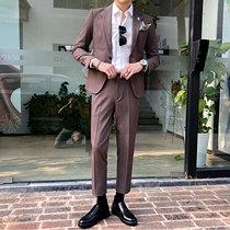 韩国东大门英伦西装男套装纯色修身韩版休闲青年新郎婚礼西服套装