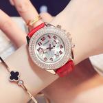 手表女士韩版潮流时尚镶钻学生防水石英表真皮带女表大表盘仿三眼