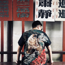 Six Summer Heavy Industries in Three Provinces, Peony, Lion and Animal Embroidered T-shirts for Men and Women