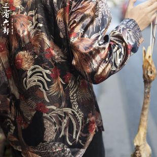 三省六部原创春季中国风街头满身公鸡印花男士宽松大码长袖衬衫潮