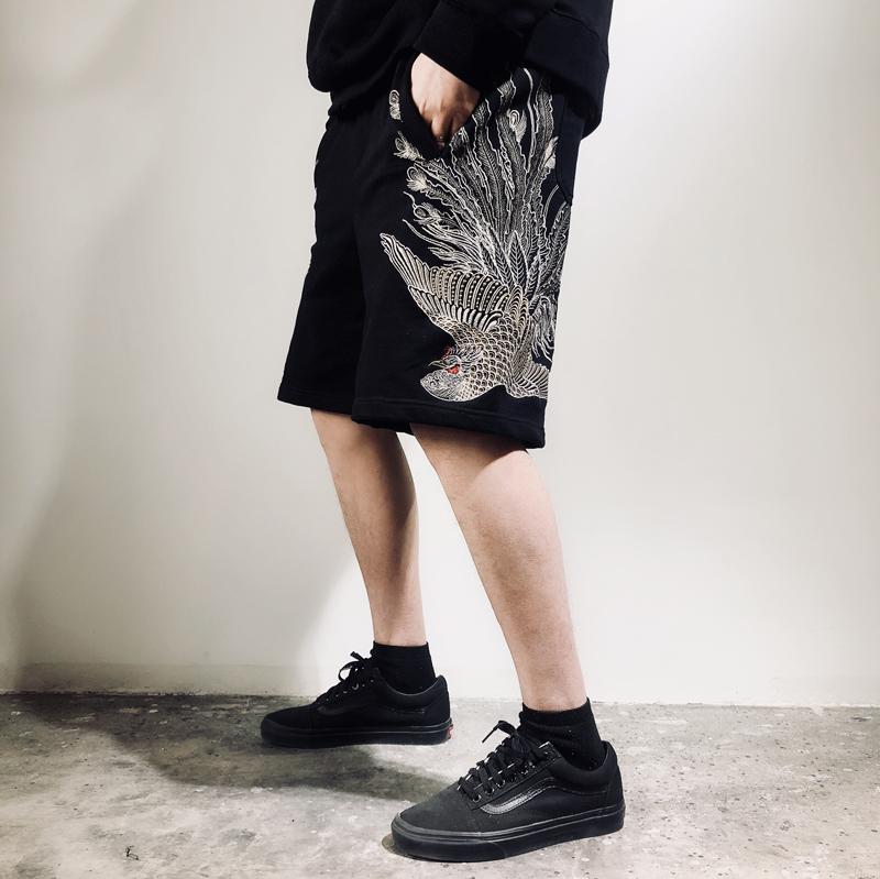 三省六部原创中国风凤凰刺绣中裤 夏季男士大码中式全棉潮牌短裤