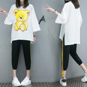 夏装2018新款女韩版大码套装时尚小熊图案印花上衣七分裤两件套潮