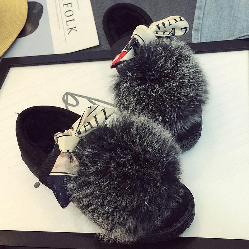 冬季平底毛毛鞋女2017新款韩版百搭加绒豆豆鞋狐狸毛懒人棉鞋瓢鞋