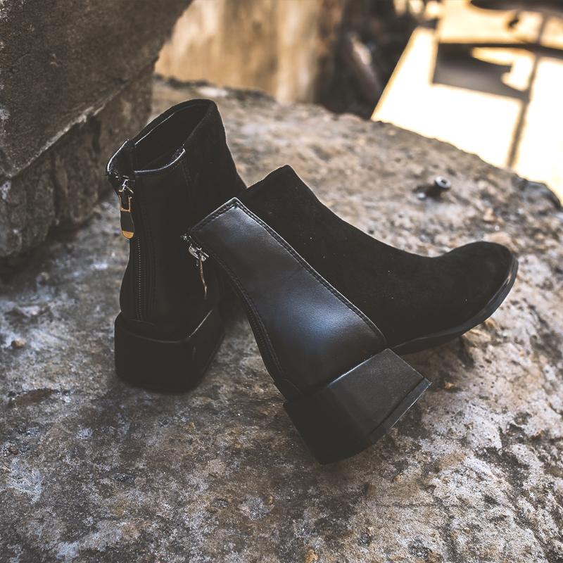 小短靴女2018新款春秋百搭网红瘦瘦靴粗跟中跟踝靴平底短筒靴子女