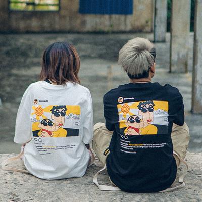 不一样的情侣装夏装潮流卡通T恤学生半袖韩版宽松ins情侣短袖潮牌