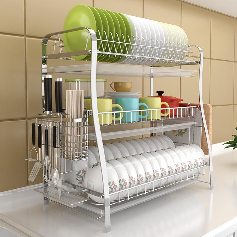 碗架沥水架304不锈钢家用凉洗晾放碗筷水池收纳盒三层厨房置物架