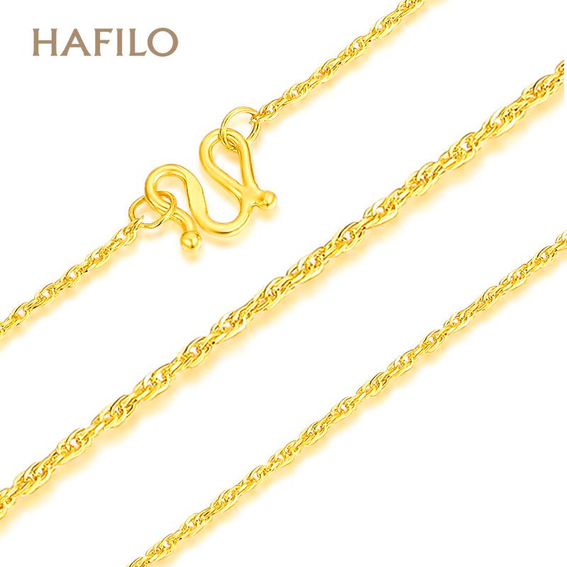 黄金项链足金999绞丝链锁骨链加长款毛衣链女款50/55cm可定制长度