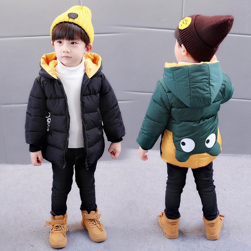 宝宝冬装男童棉衣新款1-3岁5儿童轻薄棉服可爱中小童连帽保暖外套