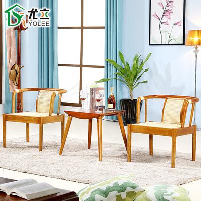 现代北欧风格阳台椅子茶几三件套 简约休闲日式实木藤椅桌椅组合