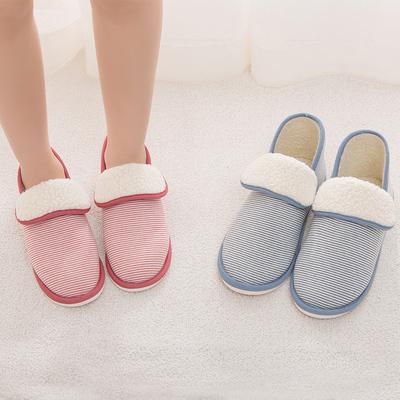棉拖鞋女冬季时尚室内居家厚底防滑地板保暖家居包跟情侣毛毛拖鞋
