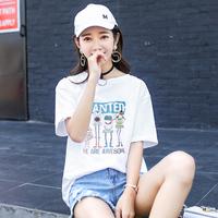 【2件59元】2018夏装新款纯棉t恤女短袖白色圆领宽松学生半袖上衣