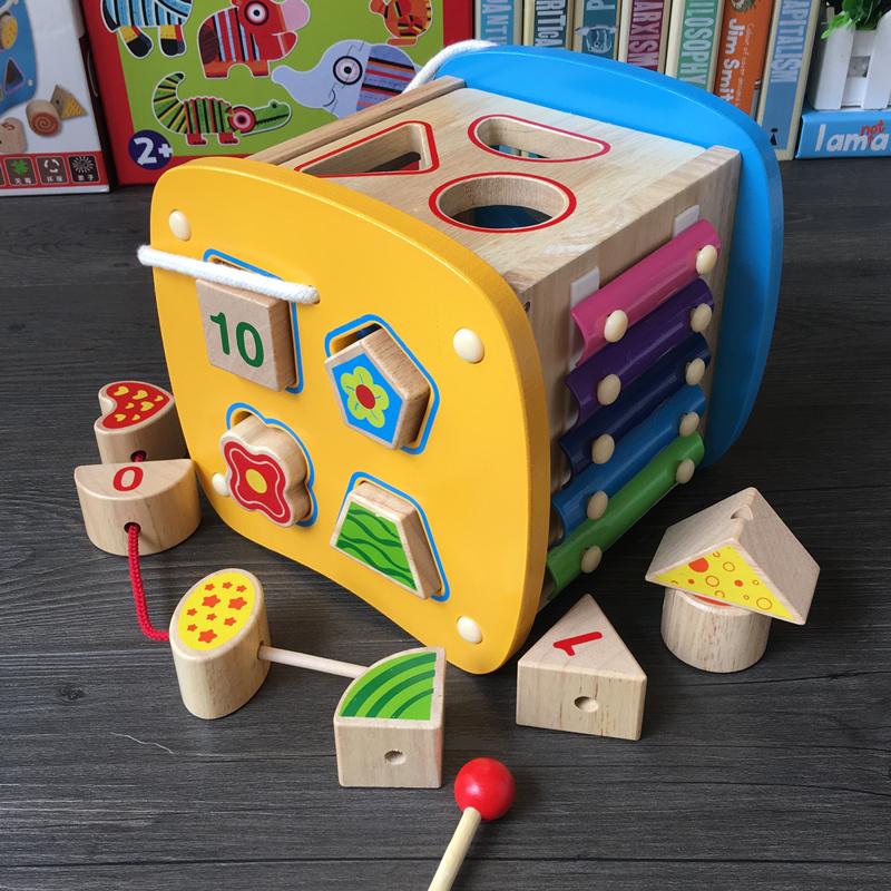 幼儿早教益智智力盒木质串珠敲球形状配对认知123半周岁宝宝玩具