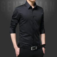 Spring and summer loaded mercerized cotton men's long-sleeved solid color shirt casual Korean version of the self-cultivation free ironing white shirt male youth Kuroshio