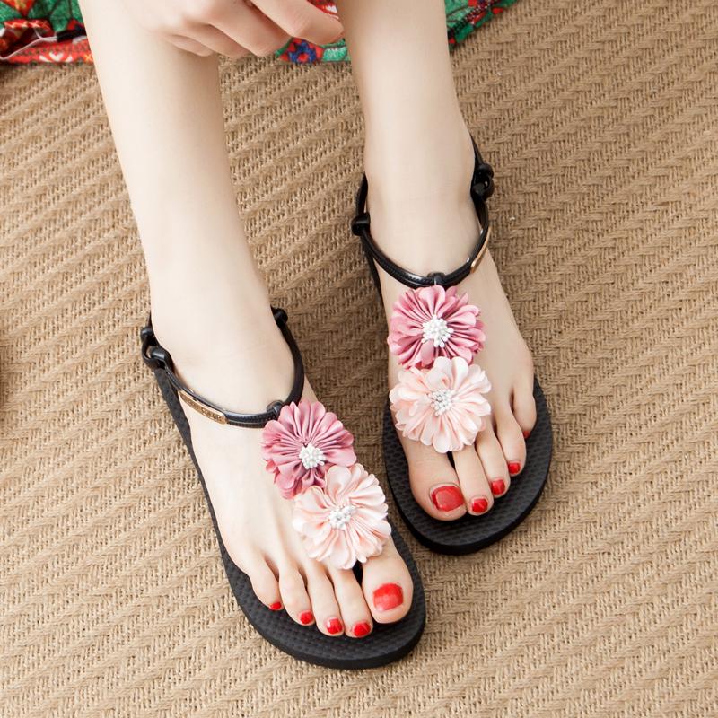 韩版花朵凉鞋女夏平底2019新款时尚百搭波西米亚度假海边沙滩鞋女