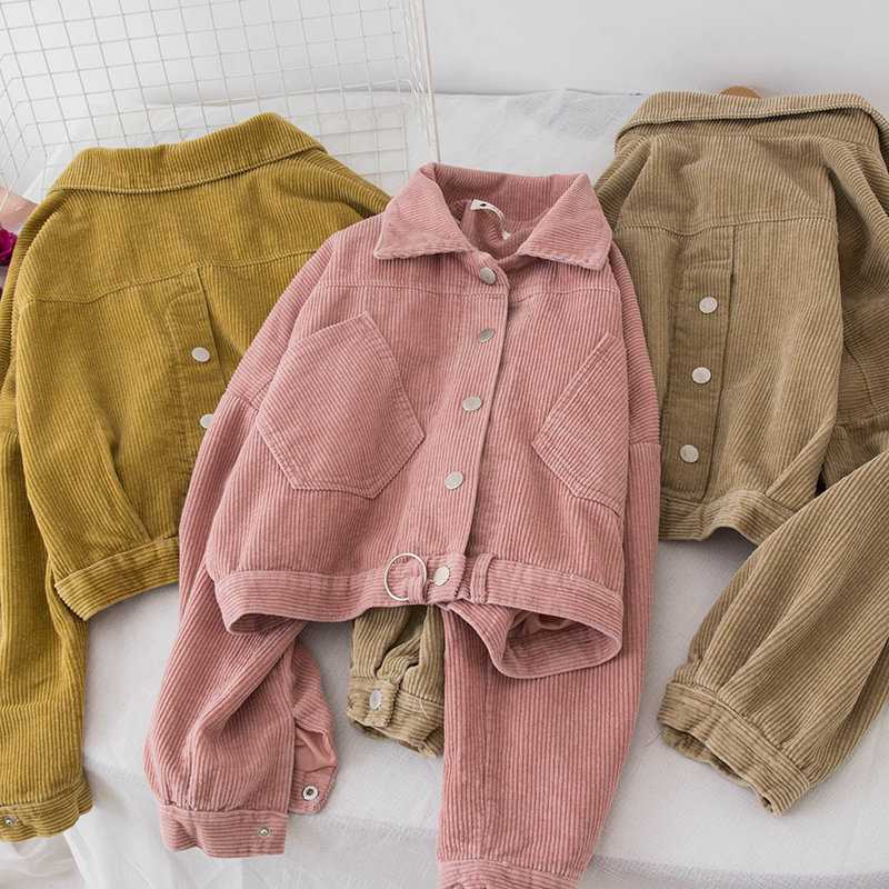 1456# small fragrance wind fashionable corduroy jacket female short paragraph loose autumn women