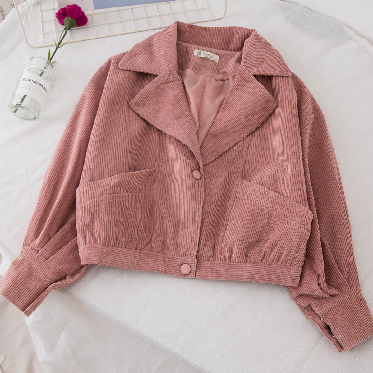 1499 autumn new women's Korean short loose Slim corduroy jacket solid color