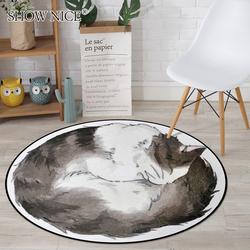 绣奈丝 时尚卡通猫咪圆形地毯儿童卧室房间吊篮圆毯 家用电脑椅垫