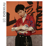 Originally designed by Baixi Bureau, individualized embroidery, Chinese dragon print red shirt with short summer sleeves