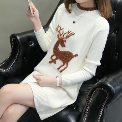 秋装女2018新款韩版绣花针织连衣裙高领冬季毛衣女宽松中长款外套