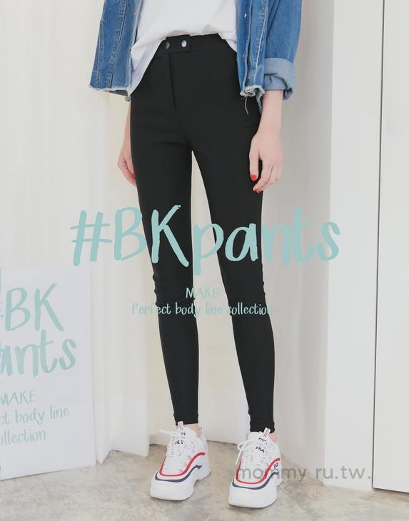 | pazzo | P40101927   #BK101双压扣弹力显瘦黑裤