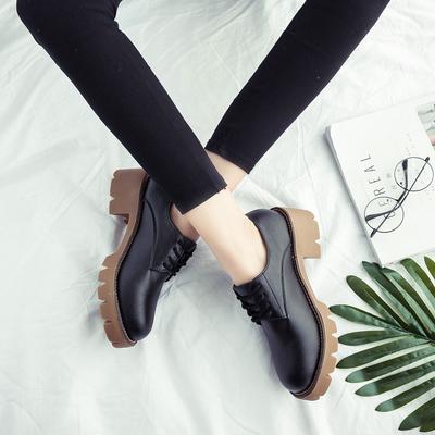 欧美时尚圆头防滑英伦风潮小皮鞋女鞋子2018秋季新款系带学生单鞋