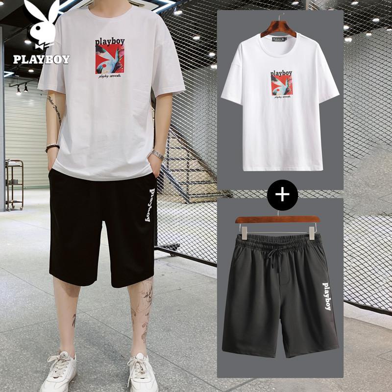 花花公子休闲套装男夏季短袖t恤学生篮球休闲裤男T恤两件运动套装