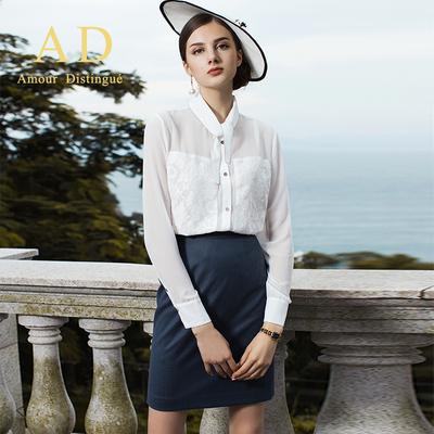 AD名媛气质印花白色长袖衬衫半裙套装秋季新款时尚职业装女装套裙