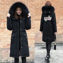 冬季新款收腰菱格棉衣加厚保暖棉袄外套2018立领羽绒棉服女中长款