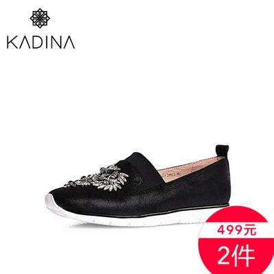 【2件499】卡迪娜休闲女鞋松糕底烫钻羊皮女渔夫鞋女单鞋KS62309